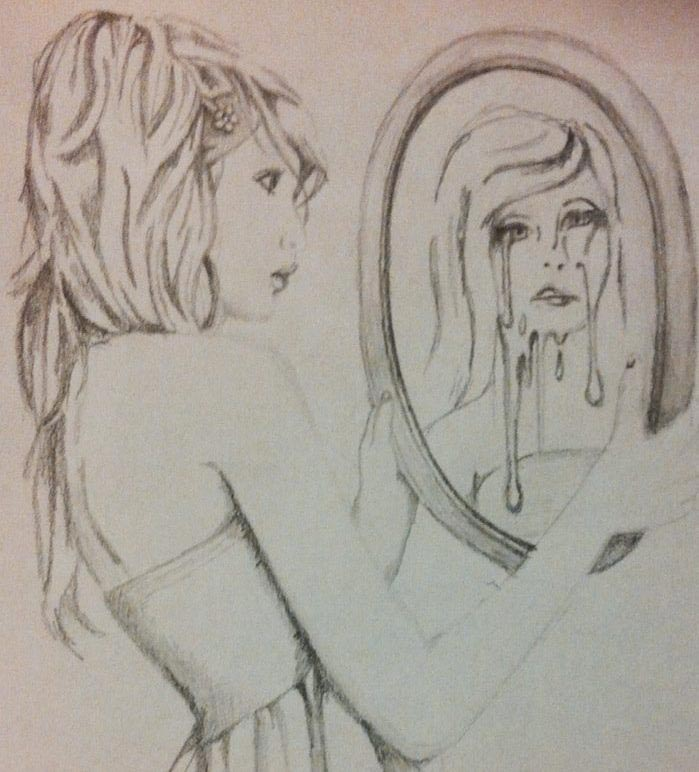 Mirror Image Drawing to Her With The Mirror And